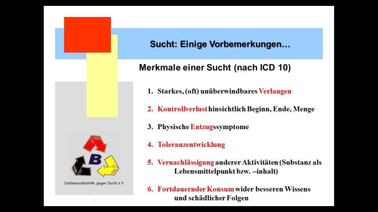 """Merkmale einer Sucht (nach ICD 10) Ergänzend zum Bild: Die Abkürzung ICD steht für """"International Statistical Classification of Diseases and Related Health Problems"""", die Ziffer 10 bezeichnet die 10. Revision der Klassifikation."""