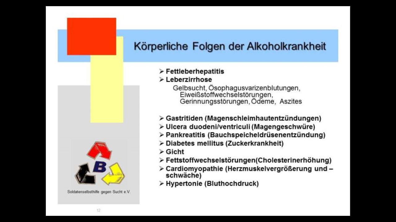 Körperliche Folgen des Alkoholismus - Hier aufgezählt sind natürlich nicht alle Symptome der Alkoholkrankheit, deren gibt es leider noch viel mehr, z.B. Gehirn-und Nervenschädigungen.