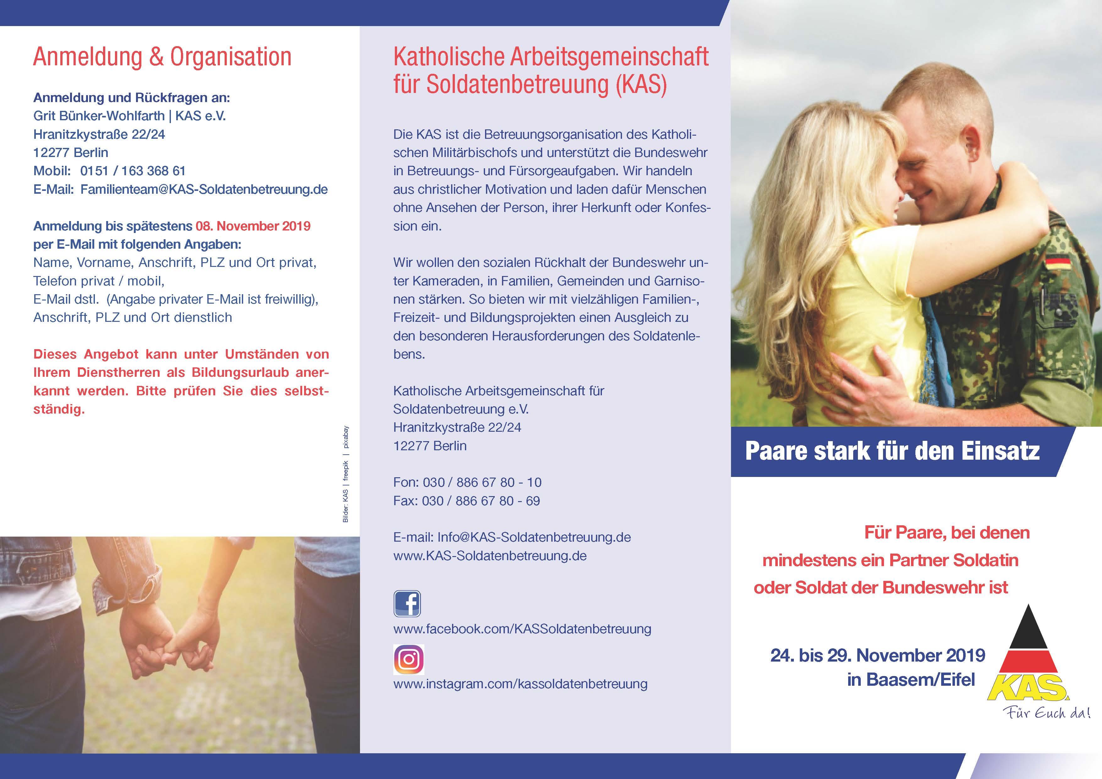 """Flyer """"Paare stark für den Einsatz"""" - Vorderseite"""