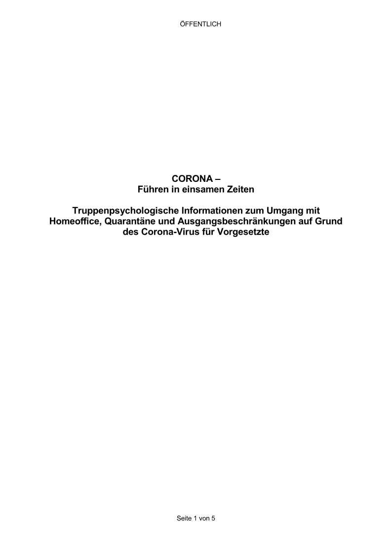Deckblatt: Corona - Führen in einsamen Zeiten
